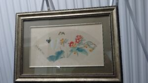 "Old Chines Hand Painted Painting on Silk,Signed""以 文"",老丝绢工笔Framed"