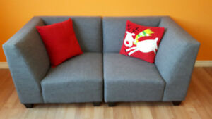 REDUCED! 2 PC MODULAR GREY LOVE SEAT, CANADIAN MADE, AS NEW