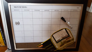 Magnetic dry erase cork combo board