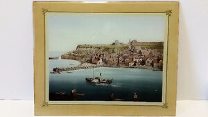 Whitby from the West Cliff – UK – Antique Glass Mounted Photo