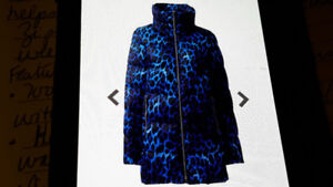 NEW Winter  Lightweight Down A-line Coat 2X in Cool Blue Leopard