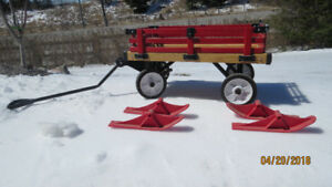 Wagon Red Wood, Converts to Sleigh w/ skis for Winter $60