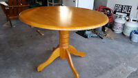 """OAK PEDESTAL TABLE - 42"""" ROUND...GREAT CONDITION...$75 OBO"""