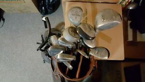 Set of 19 golf clubs, golf bag, and bag cart - Must go!