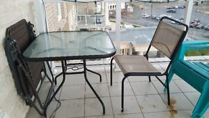 4 Chair and Patio Table with Table Umbrella