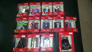 Hallmark Marvel/Star Wars christmas tree ornaments
