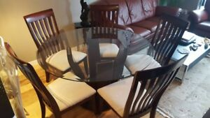Dining Table with 5 chairs (wood base with glass top)