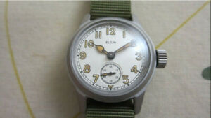 WW2 ELGIN MILITARY WATCH SUB SECOND WITH NEW MILITARY CASE!