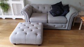 Two Settees plus Matching Footstool