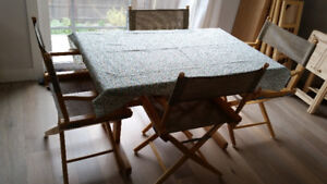 Butcher Block Trestle Table & 5 Director's Chairs