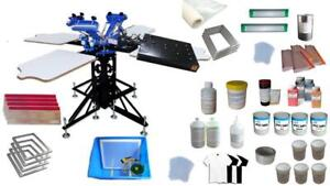 Full Set 3 Color Screen Printing Kit 4 Station Shirt Press with Dryer Consumables 006890