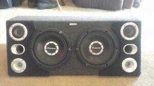 """two 10"""" pioneer subs in carpeted box with tweeters"""