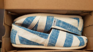 Women's Toms Classic blue and white stripe