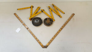 Lot of vintage folding rulers and tapes