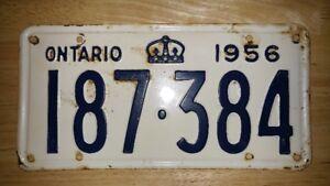 Ontario License Plate 1956 (Rare)