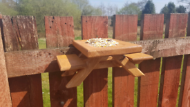 Handmade bird squirrel feeder bench
