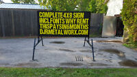 4x8 PORTABLE SIGNS.WHY RENT? SAVE THOUSANDS$$