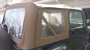 Tan Jeep TJ soft top with door bar and frame Kingston Kingston Area image 3