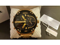 Diesel DZ7333 Big Daddy Watch Gold Tone Authentic Brand New