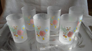Vtg Japanese Frosted Drinking Glasses Orig. Box, Floral Design