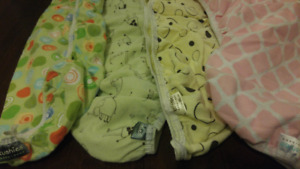 4 Kushies Flannel Bassinet Sheets (yellow, green and pink)