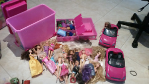 Barbie dolls and cars
