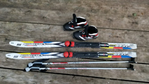 Kids cross-country skis, bindings, boots and poles