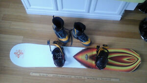 RIDE SNOWBOARD, BOOTS 5150 size 8.5, RIDE bindings,
