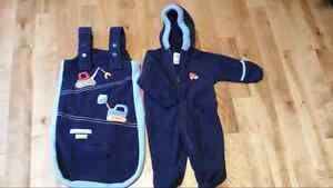 EUC - Blue fleece snowsuit & matching insert blanket for carseat