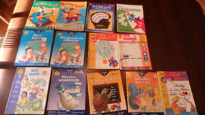 Math and English learning books, grade 1 to 8