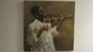 Canvas painting of musician
