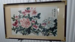 Chinese Water Color Painting Flowers, 花开富贵牡丹,松涛画