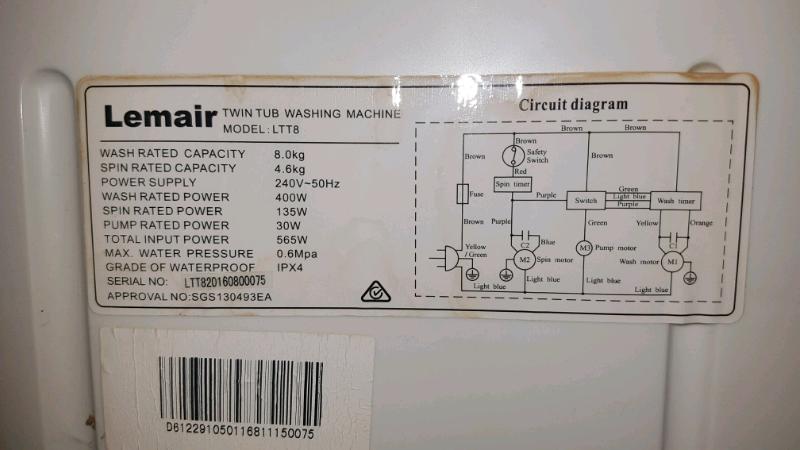 twin tub washing machine 8kg lemair ltt8 | washing machines & dryers |  gumtree australia parramatta area - granville | 1217884916