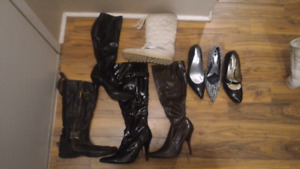 Boots and shoes size 7.5 and 8 $20 for all 8 pairs.