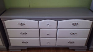 Just painted Today.Violet and pink color matching dresser set .3
