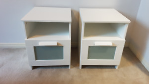 Two nightstands - side tables - white