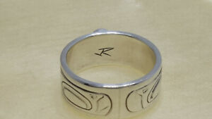 Sterling Silver (Raven) Ring Artist: Justin Rivard (Cree Nation)