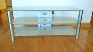 Modern Frosted Glass and Aluminum TV Stand - Two Shelves