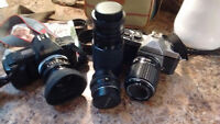 Pentax and Canon film cameras and lenses