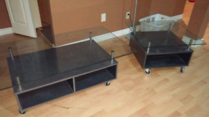 Glass topped coffee and side table