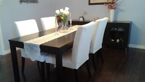 Dining table + 4 chairs + display cabinet for $650