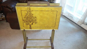 Vintage 1970's LaVada TV Tray Tables with Rolling Cart