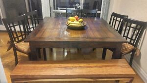 Wood and Bamboo Dining Table Set