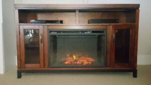 ELECTRIC FIREPLACE, TV STAND, ENTERTAINMENT UNIT COMBO, AS NEW