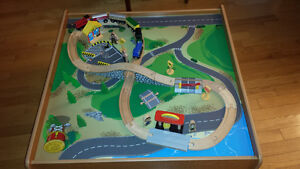 Train table and 40 piece train set