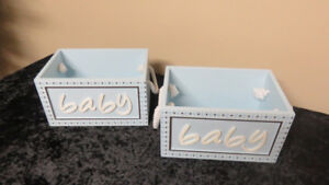 2 New Baby Boy Wooden Baskets for Bedroom - Blue /Brown Dots