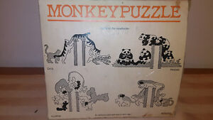 HandMade In England Monkey Puzzle Panda Book Ends Vintage 1981