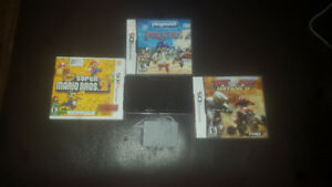 Black nintendo 3ds with 3 games and charger