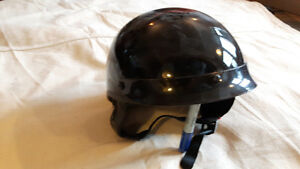 Black Helmet and Leather Riding Gloves