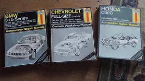 Your choice of Haynes repair manuals Honda BMW Chverolet